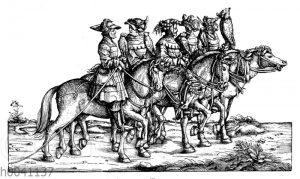 Falknerei: Gruppe aus Maximilians I. Jägerei