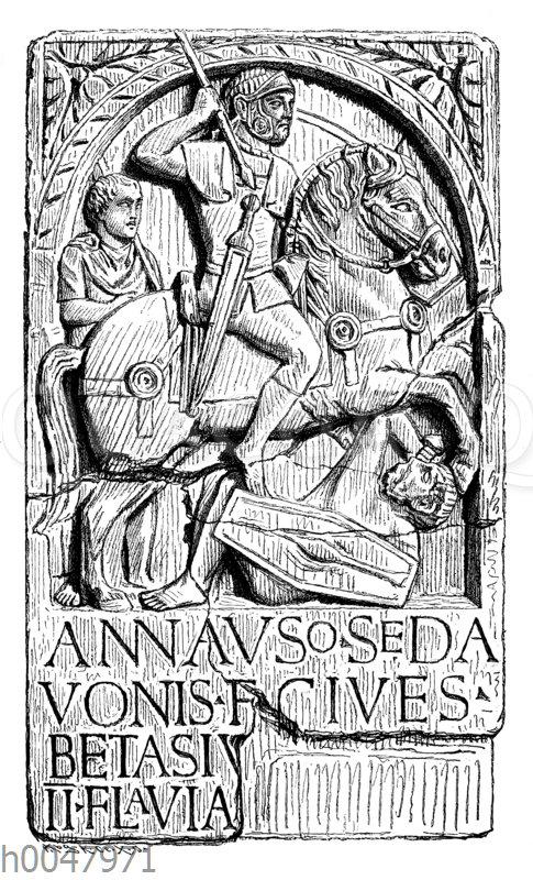 Römische Darstellung eines germanischen Auxiliarreiters in römischen Diensten