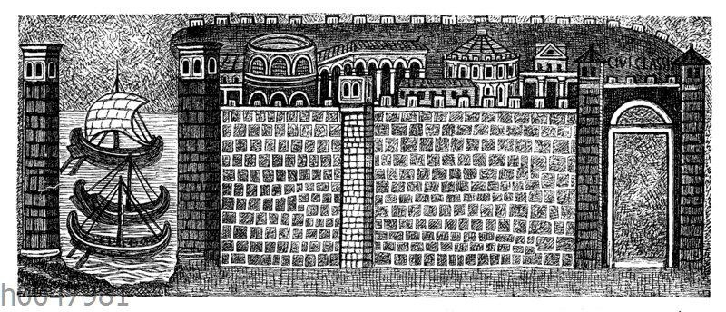 Der befestigte Hafen von Ravenna (civitas Classis). Mosaikbild in der S. Apollinare nuovo in Ravenna