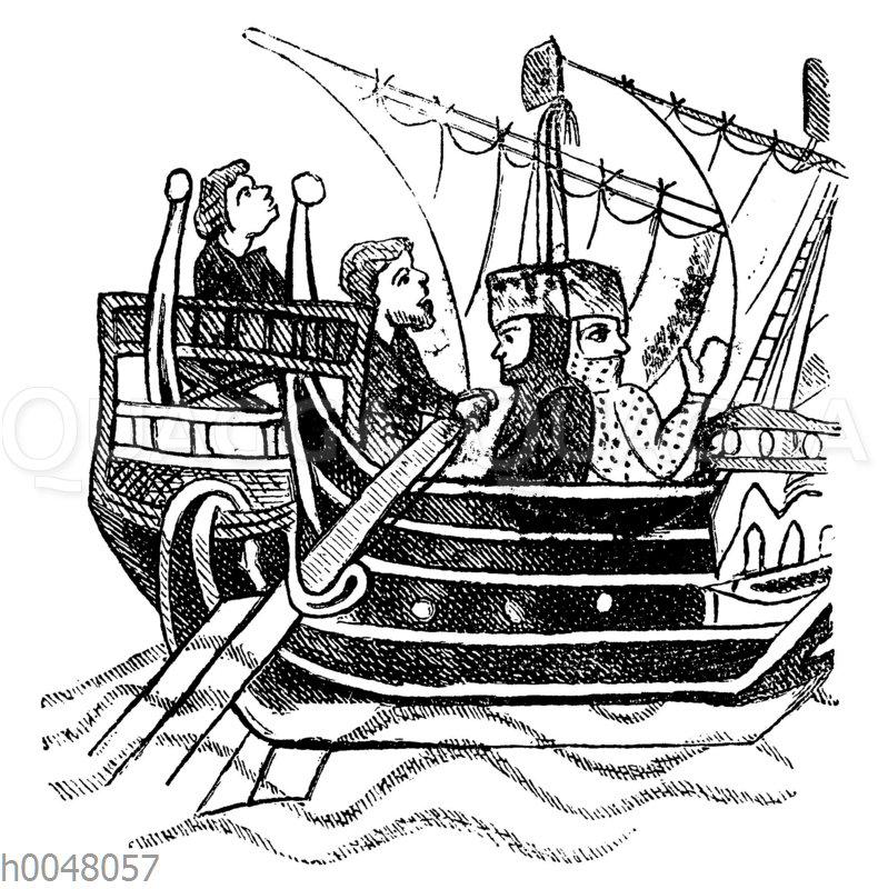 Überfahrt von Rittern auf genuesischen Galeeren nach dem gelobten Land (im Jahr 1187)
