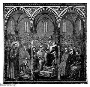 Franz von Assisi predigt vor Papst Honorius III.