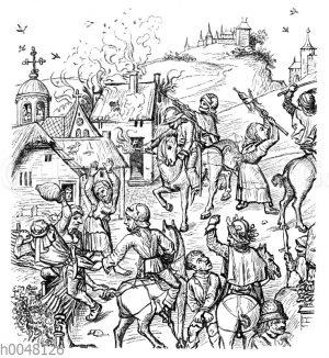 Plünderungsszene zur Zeit der Hussitenkriege