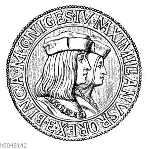 Medaille auf die Vermählung Maximilians I. mit Bianca Sforza