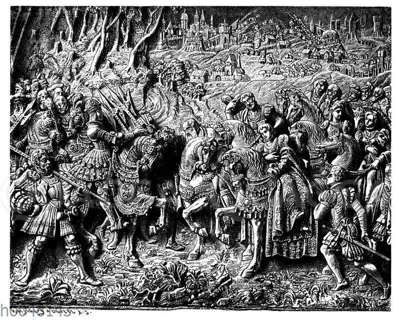 Maximilian I. empfängt seine aus Frankreich zurückkehrende Tochter Margarethe (1492)