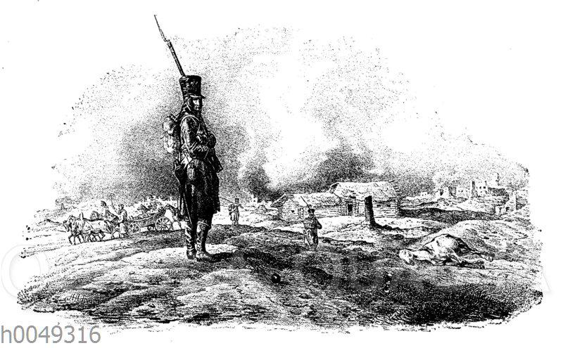 Soldat vor Moskau in Napoleons Russlandfeldzug am 20. September 1812