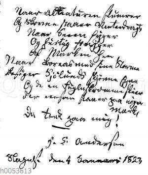 Faksimile eines Gedichts von Hans Christian Andersen