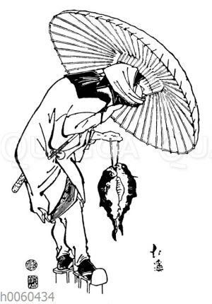 Japanischer Fischer mit Schirm