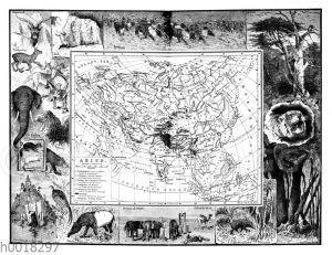 Asien: Landkarte mit Bilder-Collage
