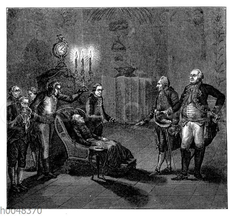 Friedrich II. von Preußen: Auffinden seiner Leiche im Lehnstuhl