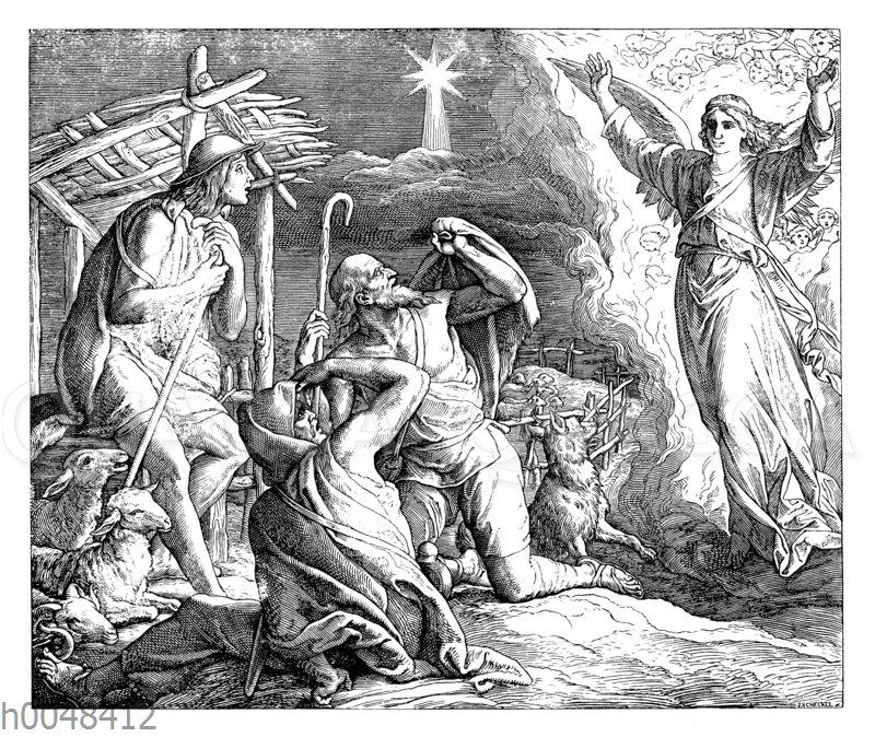Den Hirten wird Christi Geburt verkündet