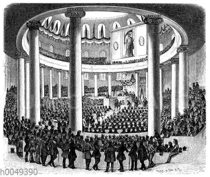 Sitzung des vorbereitenden Parlaments in der Paulskirche in Frankfurt a.M.