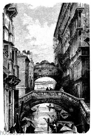 Rückseite des Dogenpalastes mit der Seufzerbrücke in Venedig