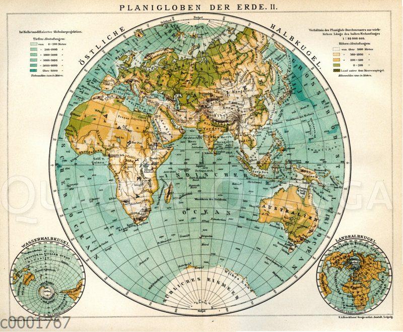 Planigloben der Erde