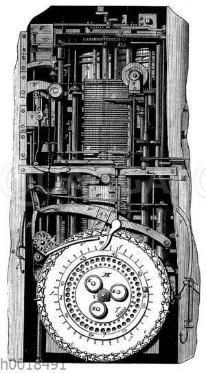 Inneres des Automaten 'Der schreibende Knabe' von J. Droz