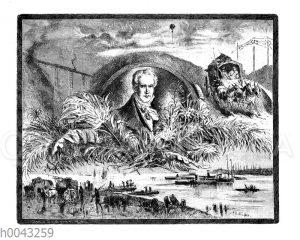 Landschaft mit Fluß und dem Bildnis Alexander von Humboldts