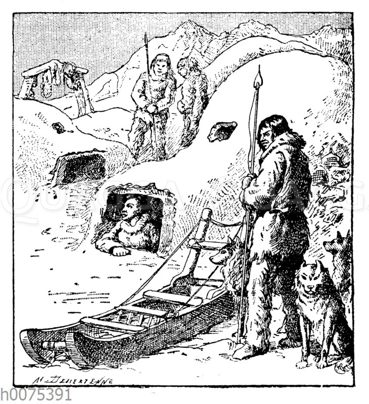 Eskimos mit Schlitten und Iglu