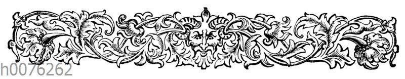Vignette mit gehörntem Teufelsgesicht