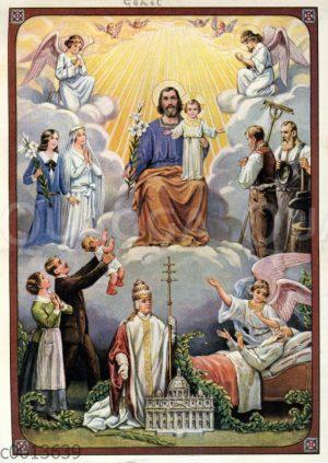 Jesus inmitten von Engeln und betenden Menschen