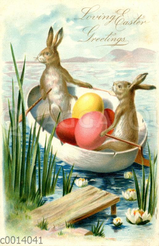 Zwei Osterhasen mit Eiern rudern in einem Boot aus einer Eihälfte