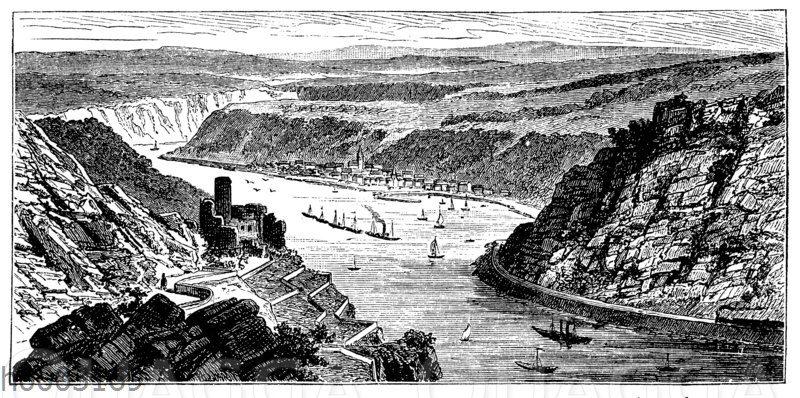 Umgebung von St. Goar am Rhein (Flussbett im Tonschiefer)