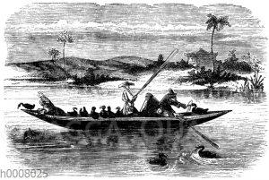 Fischfang der Chinesen mit Hilfe eines Kormorans