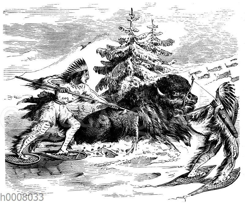 Indianische Büffeljagd im Winter