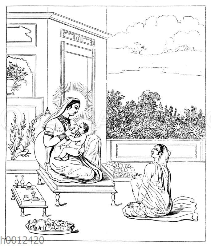 Maha-Madja und ihr Sohn Sakhyanuni (nach dem Pantheon von Moor)
