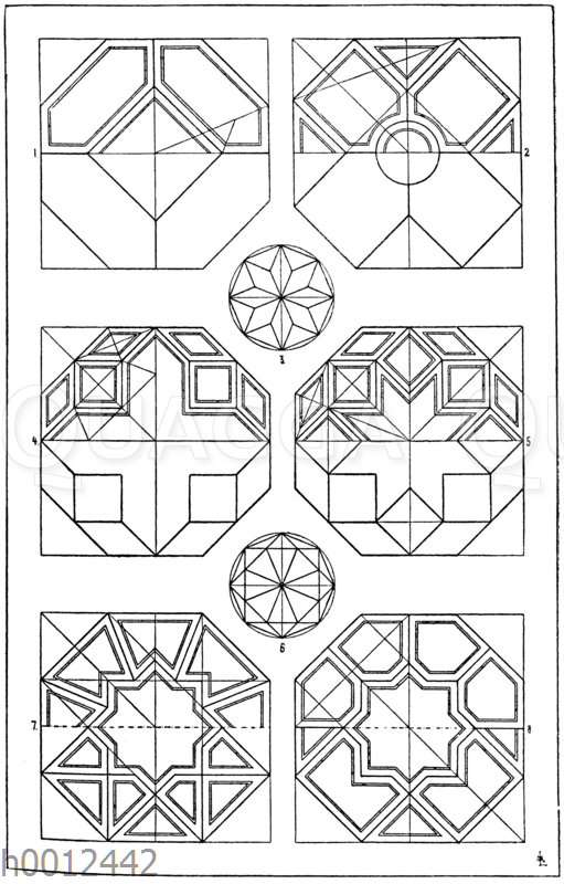 Achteck: 1.-8. Die bekanntesten Felderteilungen des regelmäßigen Achtecks.