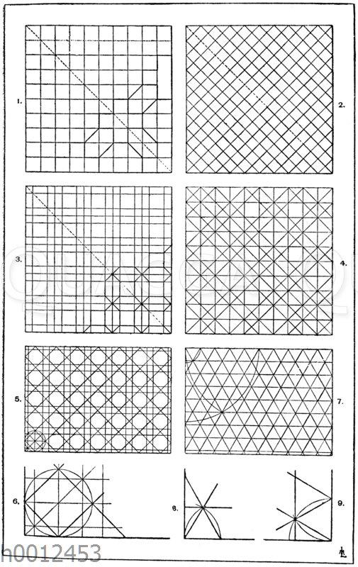 Netze: 1. Gewöhnliches Quadratnetz. Man trägt die gleichmäßige Teilung nach einer Richtung hin auf