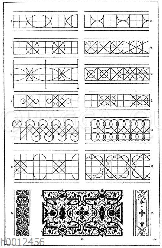 Bandmotive: 4. u. 6. Für die Figuren 4 und 6 kann die Dachdeckung als Vorbild angeführt werden. 10. Figur 10 hat ein natürliches Vorbild in der Honigzellenbildung der Bienen. 13.-15. Entwürfe zu Kassettendecken von Sebastian Serlio. 16. Jahrhundert (Formenschatz)