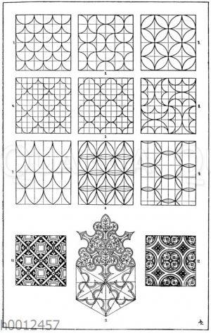 Flachmustermotive: 1. 4. und 7. Sog. Schuppenmotive. 10. Romanische Glasmalerei aus der Kathedrale zu Bourges (Racinet). 11. Textilmuster von C. Bötticher