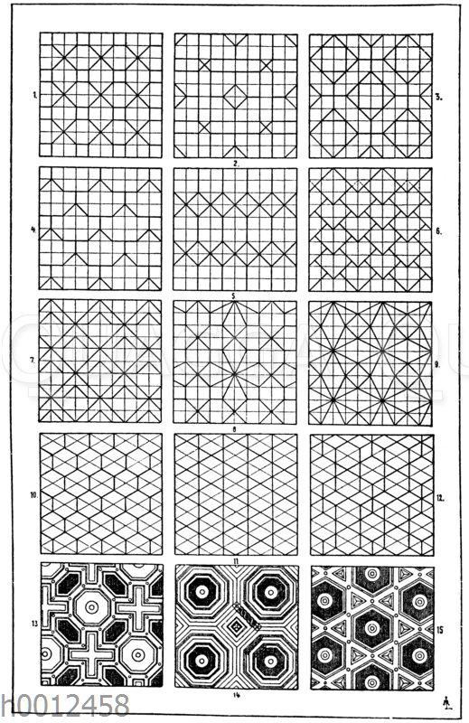 Flachmustermotive: 4. u. 6. Für die Figuren 4 und 6 kann die Dachdeckung als Vorbild angeführt werden. 10. Figur 10 hat ein natürliches Vorbild in der Honigzellenbildung der Bienen. 13.-15. Entwürfe zu Kassettendecken von Sebastian Serlio. 16. Jahrhundert (Formenschatz)