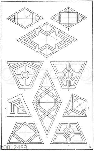 Raute und Trapez: 1.-4. Felderteilung der Raute. 5.-8. Felderteilung des symmetrischen Paralleltrapezes. 9.-10. Felderteilung des symmetrischen Trapezes.