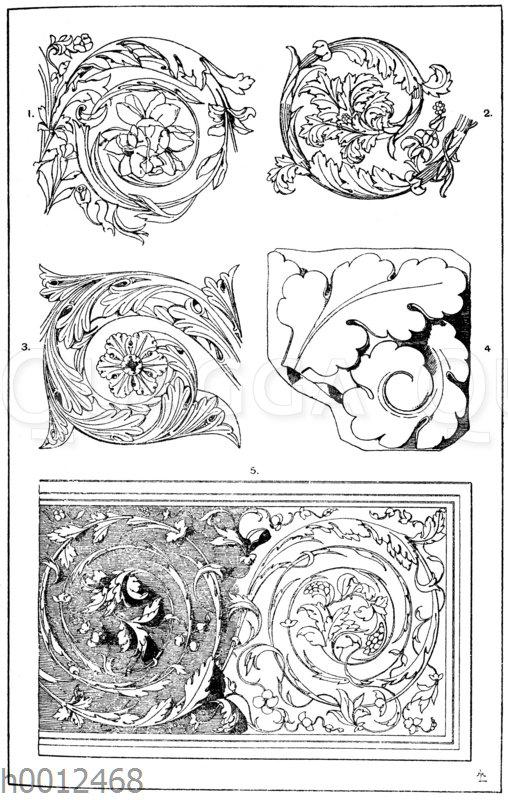 Akanthusranke: 1. Römische Akanthusrankenpartie von einer Marmorbiga. Nach der Art der Ornamentik zu schließen