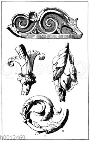 Akanthusranke: 1. Akanthusranke von der Bekrönung des Lysikratesdenkmals in Athen. 2. Akanthuskelch (Culot) aus einem römischen Rankenornament. 3. Partie einer römischen Akanthusranke. Von einer der sog. medicaeischen Platten (außteigende Akanthusornamente in riesigem Maßstabe. 4. Ausläufer einer Akanthusranke. Bruchstück eines griechischen Relief. (F. A. M. cours d'ornement)