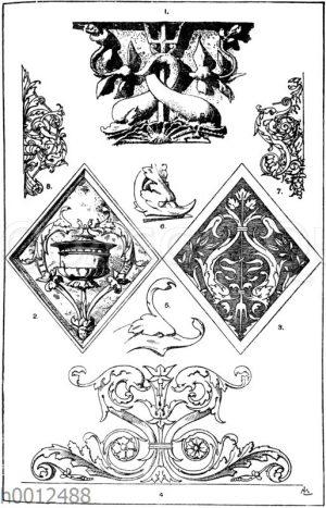Delfin: 1. Delfinornament aus Sta. Maria dell' anima in Rom (1500 bis 1514). Ital. Renaissance. (Raguenet). 2. Rautenförmiges Füllungsornament. Französische Renaissance. 3. lntarsiapartie vom Chorgestühl der Certosa bei Pavia. Ital. Renaissance. (Teirich