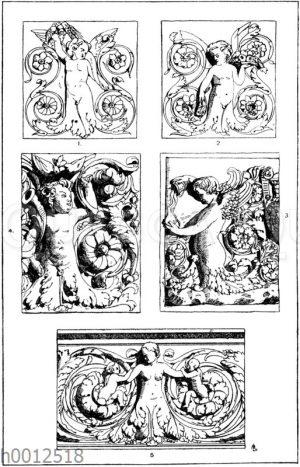 Halbfiguren: 1-2. Füllungen von einem dreiseitigen römischen Altar. 3. Partie aus einem römischen Relief. 4. Sockelverzierung von einem Altar im Dom zu Orvieto. Ital. Renaissance (Gewerbehalle). 5. Partie aus einem Relief. Ital. Renaissance.