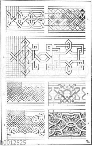 Flechtbänder: 1.-3. Flechtbandmotive von Holz- und Elfenbeineinlagen. Italienische Renaissance. 4. Flechtband von Domenico de Fossi in Florenz