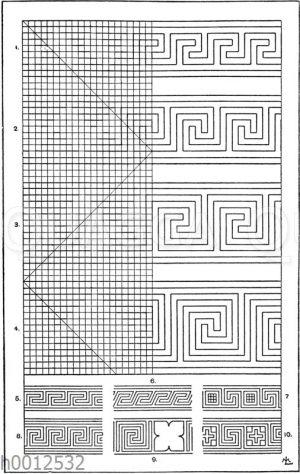 Unsymmetrische oder laufende Mäander nach griechischen Vasenmalereien: 1.-4. Gewöhnliche