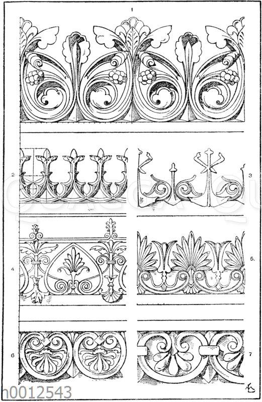 Firstkrönungen: 1. Frühgotische Firstkrönung nach Jacobsthal. 2. Gotisches Krönungsornament für Eisenguss