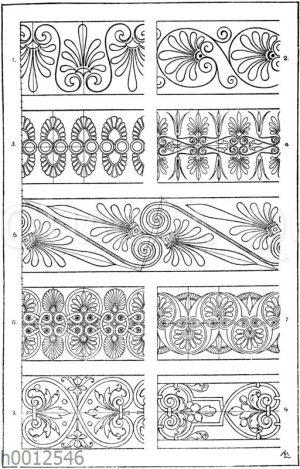 Palmettenbänder: 1. 2. 3. u. 5. Bemalungen griechischer Tongefäße. 4