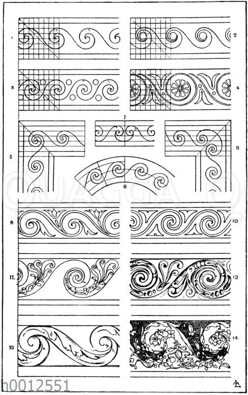 Wasserwogenband: 1.-4. Bemalungen antiker Gefäße. 5-6. Ecklösungen. 7. Mittellösung. 8. Partie eines im Kreise laufenden Wasserwogenbandes. 9. Bemalung einer Ofenkachel