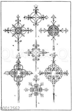Kreuze in Schmiedeisen: 1-3. Mittelalterliche Turmkreuze aus Franken. (Gewerbehalle). 4. Turmkreuz
