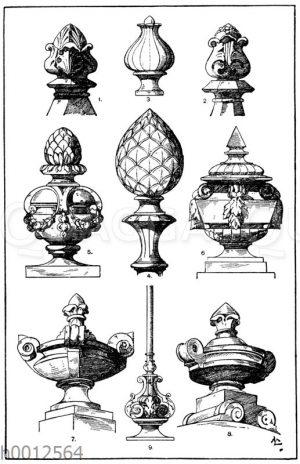 Knöpfe und Wasen: 1.-2. Steinknöpfe vom Dom zu Mailand. Italienische Gotik. (Raguenet). 3. Knopf. 19. Jahrhundert. 4. Pinienzapfen