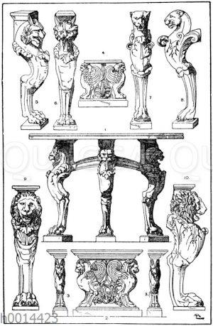 Trapezophoren: 1. Dreifüßiger Tisch. Römisch. Füße Marmor