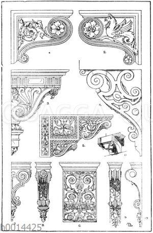 Konsolen: 1.-2. Seitenansichten einer Renaissancekonsole im Museum des Vatikan in Rom. 3. Renaissancekonsole vom Hotel d'Assezat in Toulouse