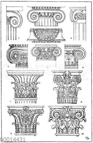 Säulenkapitelle: 1. Griechisch-ionisches Normalkapitell. (Jacobsthal). 2. Ionisches Säulenkapitell vom Tempel zu Bassä. 3. Ionisches Halbsäulenkapitell aus Pompeji. 4. Römisch-ionisches Säulenkapitell. (Musterornarnente). 5. Griechisch-ionisches Säulenkapitell vom Erechtheion in Athen. 6. Ionisches Säulenkapitell vom Louvre in Paris. 7. Antikes korinthisches Säulenkapitell. Auf Milo gefunden. (Vorbilder für Fabrikanten und Handwerker). 8. Griechisch-korinthisches Säulenkapitell vom Denkmal des Lysikrates in Athen. 9. Römisch-korinthisches Säulenkapitell aus den Kaiserpalästen in Rom. 10. Römisches Kompositkapitell. Im Louvre in Paris.