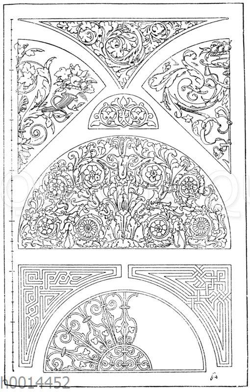 Halbkreis und Zwickel: 1. Römisches Marmorornament. (Vulliamy). 2. Oberlichtgitter. Ital. Renaissance. (Gewerbehalle). 3. Marmorfüllung von einer arabischen Moschee. (Prisse d'Avennes). 4. Frühgotische Zwickelfüllung von der Kirche zu Kent in England. 5.-6. Arabische Dreieckszwickel in Mosaikarbeit. (Prisse d'Avennes). 7.-8. Viertelskreisfüllungen. 19. Jahrhundert.