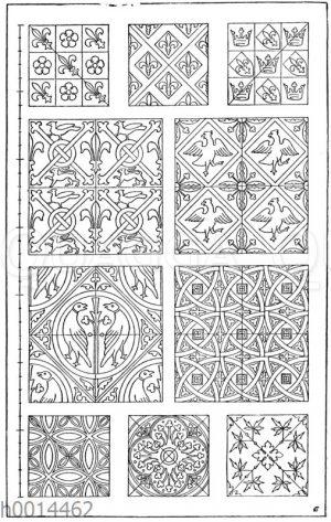 Fliesenmuster: 1.-10. Verschiedene mittelalterliche Fliesenmuster nach Owen Jones