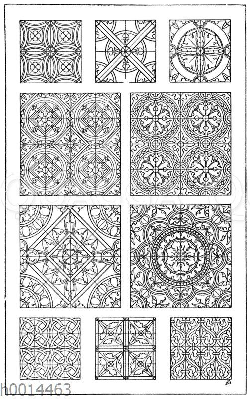 Glasmalereimuster: 1.-10. Verschiedene Glasmalereimuster (Teppiche) aus der romanischen und frühgotischen Zeit. (Owen Jones